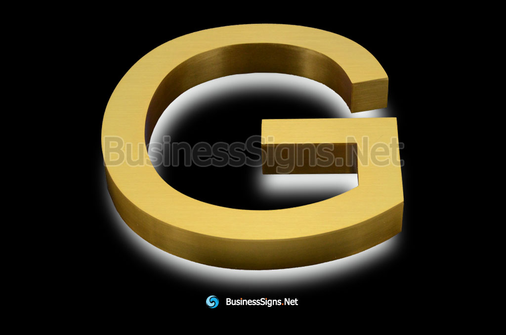 3D LED Backlit Business Signs With Brushed Gold Plated Stainless Steel Letter Shell