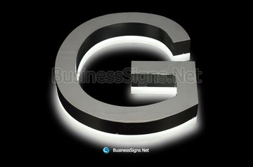 3D LED Backlit Business Signs With Mirror Polished Stainless Steel Letter Shell And Visible Acrylic Back-panel