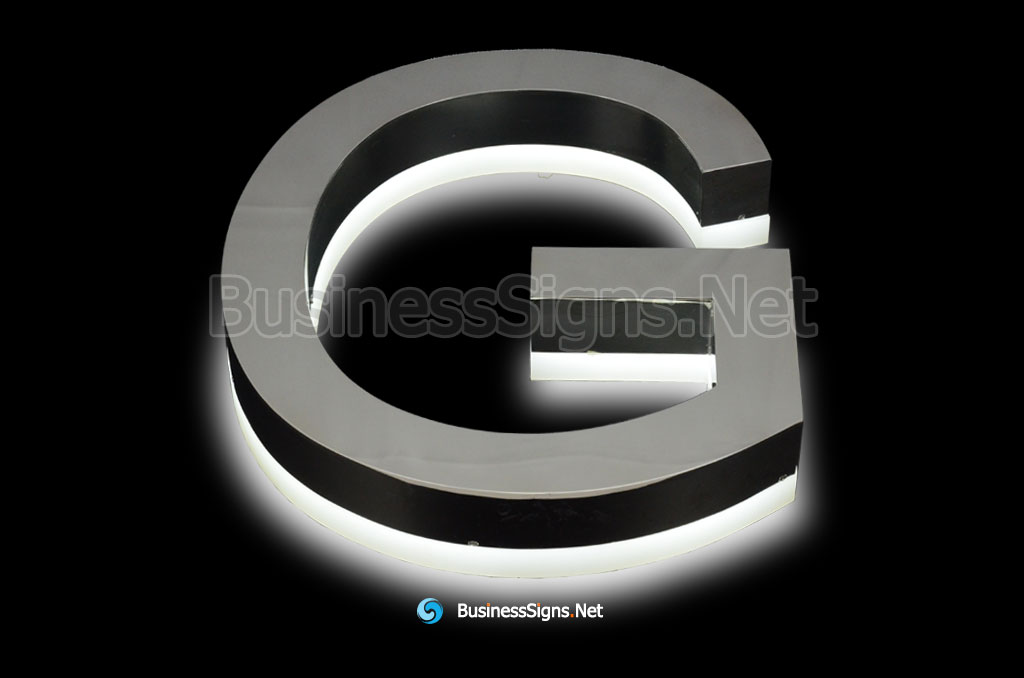 3D LED Backlit Business Signs With Mirror Polished Stainless