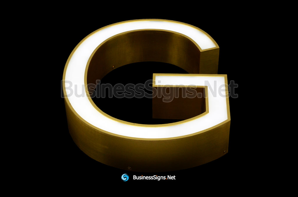 3D LED Front-lit Business Signs With Brushed Gold Plated Stainless Steel Letter Shell And Face Return
