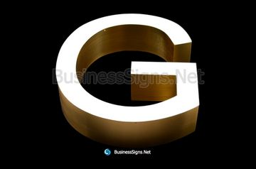 3D LED Front-lit Business Signs With Brushed Gold Plated Stainless Steel Letter Shell