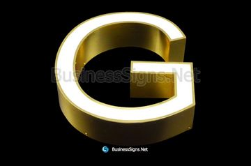 3D LED Front-lit Business Signs With Mirror Polished Gold Plated Letter Shell And Face Return
