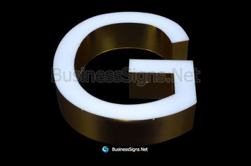 3D LED Front-lit Business Signs With Mirror Polished Gold Plated Stainless Steel Letter Shell