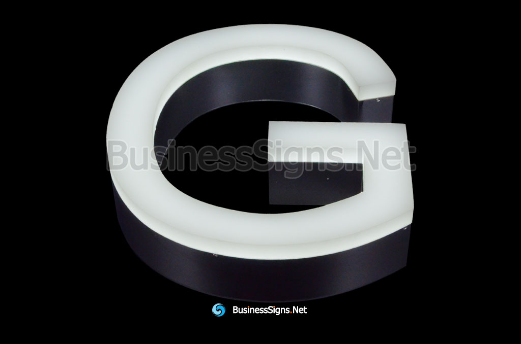 3D LED Front-lit Business Signs With Mirror Polished Stainless Steel Letter Shell And 20mm Thickness Acrylic front-panel
