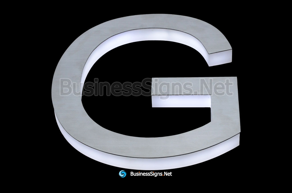 3D LED Side-lit Business Signs With Brushed Stainless Steel Face