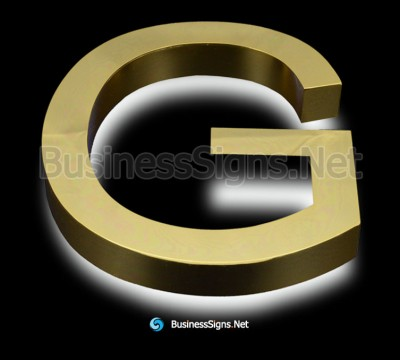 3D LED Backlit Business Signs With Mirror Polished Gold Plated Stainless Steel Letter Shell