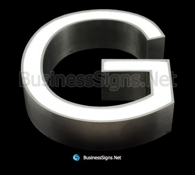 3D LED Front-lit Business Signs With Brushed Stainless Steel Letter Shell And Face Return