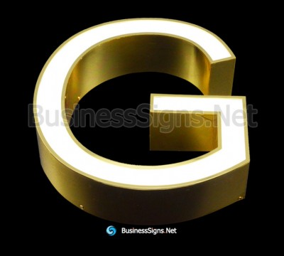 3D LED Front-lit Business Signs With Mirror Polished Gold Plated Stainless Steel Letter Shell And Face Return