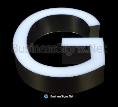 3D LED Front-lit Business Signs With Mirror Polished Stainless Steel Letter Shell