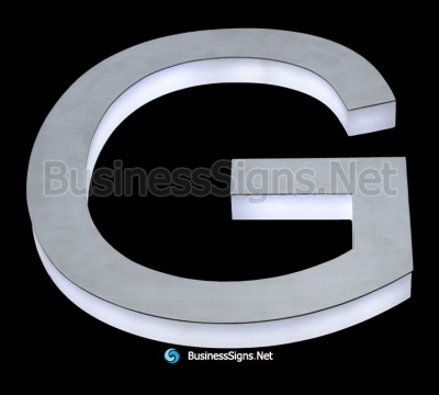 3D LED Side-lit Business Signs With Brushed Stainless Steel Surface